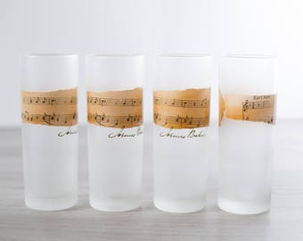 Vintage Musical Glasses / Set of 4 Frosted Dartington Drinking Highball Glasses with Musical Notes Motif / Cocktail Glassware Barware Piano
