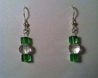 Beaded Earrings - Affordable Jewelry - Gift for Her - Dangle Earrings - Green Earrings - Handcrafted - Handmade - Gift under 10