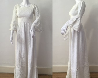 1970s French White Cotton and Lace Dress Bell Sleeves Boho Maxi XS vintage