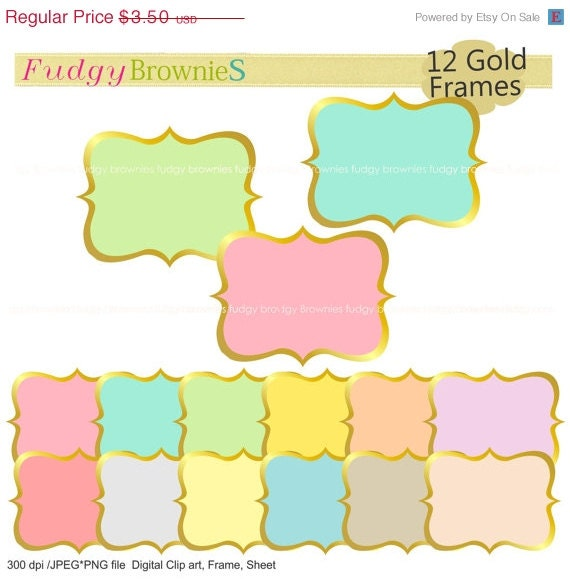 ON SALE Gold Frames Clip Artcolor Background Frame A 162 Outline Bracket Scrapbooking