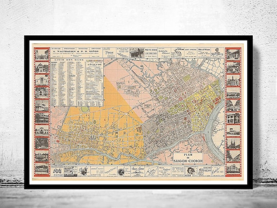 Vintage Map of Saigon Ho Chi Minh City Vietnam