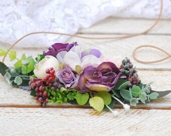 Wedding Flower Crown Rustic Country Wedding Headpiece Flower Hair Tie Vintage Wedding Bridal Flower Hairpiece Flower Bridal Crown Retro Hair