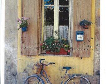 Provence Postcard - Yellow Window & Blue Bicycle PSS 3253