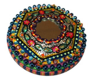 Mexican Punched Tin, Punched Tin Mirror, Mexican Mirror, Mexican Decor, Mexican Folk Art, Wood Mirror, Mexican Kitsch, Wall Mirror
