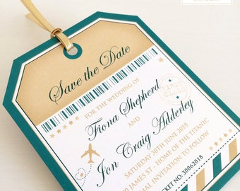 20 x Luggage Tag Save the Date Cards, Tag Save the Dates, Wedding Abroad Save the Date (larger quantities available)