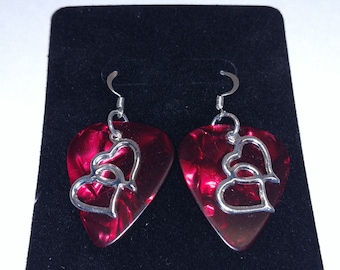 Double Open Heart Charm Guitar Pick Earrings