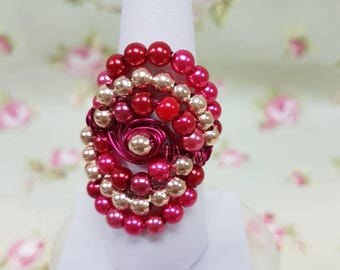 Fuchsia pink and Gold coloured wire spiral statement ring - size Q/R