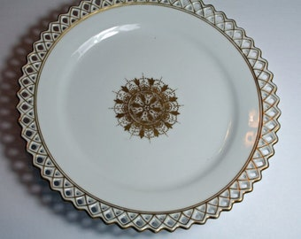 Pierced Reticulated Rim Porcelain Side Plate Bread and Butter Plate Gold Medallion