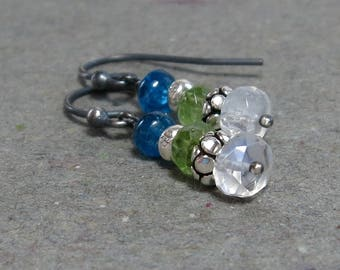 White Moonstone Earrings Peridot, Apatite Petite Oxidized Sterling Silver Earrings Gift for Mom