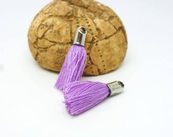 2 Purple tassels with tip rhodium 18mm synthetic fiber (PMPP03)