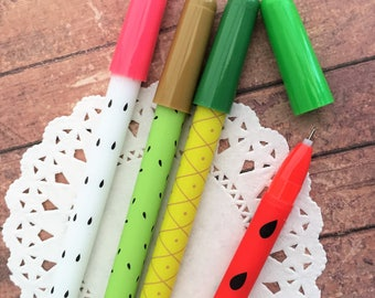 Fruit Kawaii Gel Pens Patterned Fineliners 0.35mm Fineliner Tip - Black Ink - Watermelon - DragonFruit Pineapple - Kiwi - Fruity Stationery