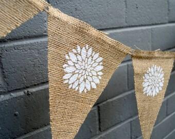SPRING FLOWERS Burlap Banner - RusticSPRING Banner - Spring Burlap Banner - Burlap Banner - Chrysanthemum Banner - White