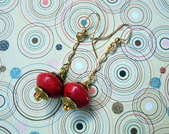 Red and Gold Dangle Earrings (2315)
