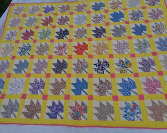 Vintage Cotton Twin Quilt or Large Throw Leaf Pattern with Calico Cottons 65 by 86 Laundered Nice