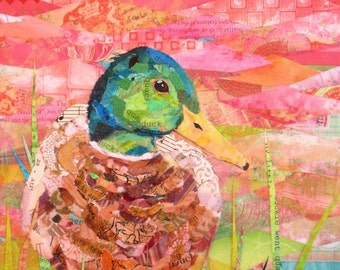 """JUST DUCKY Original Paper Collage Mallard Duck Painting 10 X 8"""" on Gallery wrapped Canvas"""