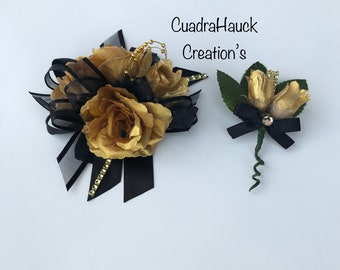 Gold and Black Wrist corsage, Black and gold corsage, Prom corsage/ Prom corsage