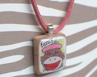 Sock Monkey Scrabble Necklace, Handmade Scrabble Tile Pendant, Art Collage Wood Pendant, Tiny Jewelry, Monkey Lover Gift, fancy