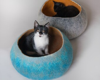 Sky Blue to Tan Pet Bed / Dog Bed / Cat Bed / Cat Cave / House Furniture / Vessel /- Hand Felted Wool -  - Crisp Contemporary Design