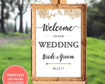 Wedding welcome sign - welcome to our wedding - 16x20 - 18x24 - 24x36