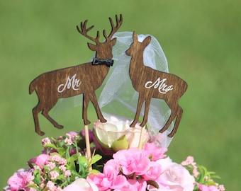Deer Wedding Cake Topper - Mr & Mrs Deer- Beach wedding - Bride and Groom - Rustic Country Chic Wedding Cake Topper