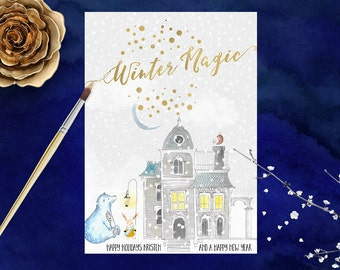 Holiday Card Winter Holiday Card Christmas Card Hand Painted Watercolor with Gold Foil