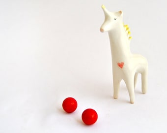 Valentine's Day- Ceramic Unicorn Figure in White Clay and Decorated with a Red Heart. Ready To Ship