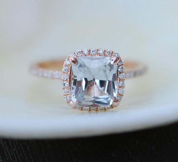 Jasmine Champagne sapphire engagement ring 14k rose gold 2.6ct cushion cut jasmine color change sapphire ring by Eidelprecious