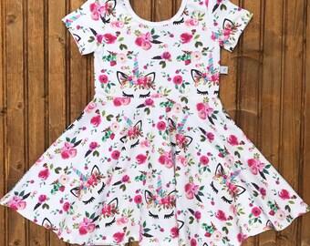 Toddler Girls Baby pink boho unicorn dress twirl dress
