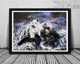 Game of Thrones Jon Snow Wolves, Game of Thrones Illustration, Game of Thrones Art Print, Game of Thrones Poster, Direwolf, Winter is Coming