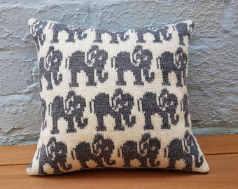 Elephant Cushion knitted in soft reclaimed merino wool - grey, cream. minimal, sustainable, new baby gift, home, animal, mothers day mum