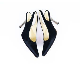 Vintage Black Satin PRADA Minimalist Slingback Heels size 7 US Womens or 37.5 EURO