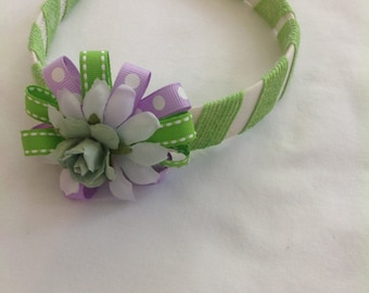 Head band, bow, ribbons, purple, green, flower, polka dots, girls, hair accessories