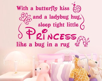 Princess Wall Decal, Nursery Girl Wall Sticker, Quote Princess, Removable Vinyl, Girl's Bedroom, Wall Art