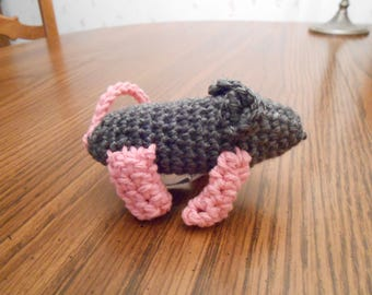 New HANDMADE Crocheted Gray and Pink Mouse