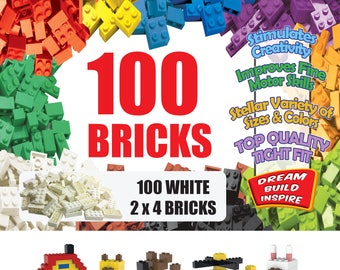 100 White LEGO Compatible Bricks