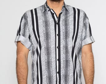 VTG 90s Black and White Stripe Saved by the Bell Style Short Sleeve Button Down
