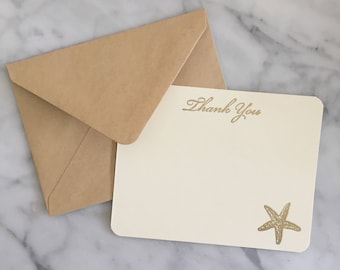6 Gold and Ivory Starfish Thank You Cards