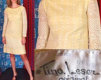 Tina Leser Original Dress 60s India Gauze Silk Embroidered Mod Wedding Party Dress