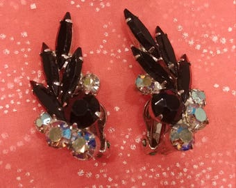 Vintage Juliana (DeLizza and Elster) Black Navette Earrings