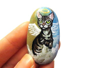 Tabby Cat, Pet Art, Memorial Keepsake, Animal Painting, Guardian Angel Necklace, Pet Loss, Keepsake Pendant, In Memory, Animal Lover Gift