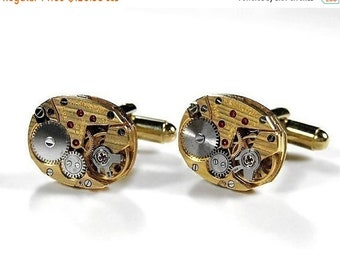 Steampunk Jewelry Mens Cufflinks Gold HAMILTON Pinstripe Watch Cuff Links Wedding Anniversary Grooms Fathers Day  - Jewelry by edmdesigns