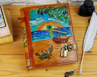 Gift Personalized Leather Notebook Journal Diary Sketchbook Travel Book Handmade Journal TiVergy Book