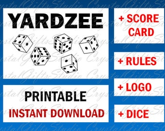 YARDZEE printable + svg, yardzee score card, yardzee rules, yardzee score sheet,  yardzee file, yardzee download, yardzee decal, scorecard