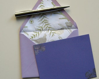 WINTER BIRD STATIONERY - 4 violet purple flat cards with metallic silver pine branches lined lilac envelopes silver birds trees green leaves