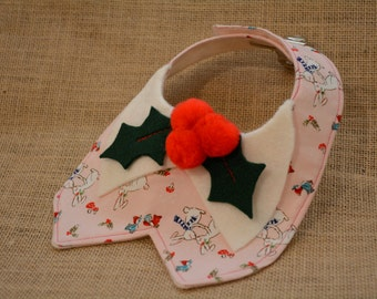 Neckties for pets -  holly berry & white kissing rabbits - Neckties for cats - neckties for dogs