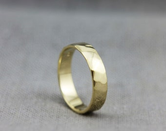 Women Wedding Band |Yellow Gold Wedding Ring |Solid 14K Gold Handmade Polished Faceted Wedding Band | 3mm, 4mm, 5mm, 6mm, 7mm
