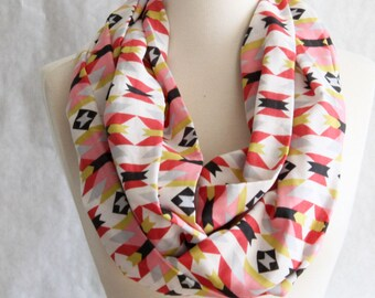 Aztec Infinity Scarf - Pink and Green Infinity Scarf