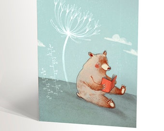 Greeting card for children | bear reading a book with a white flower | animal reading | funny drawing | 4,25'' X 5,5''