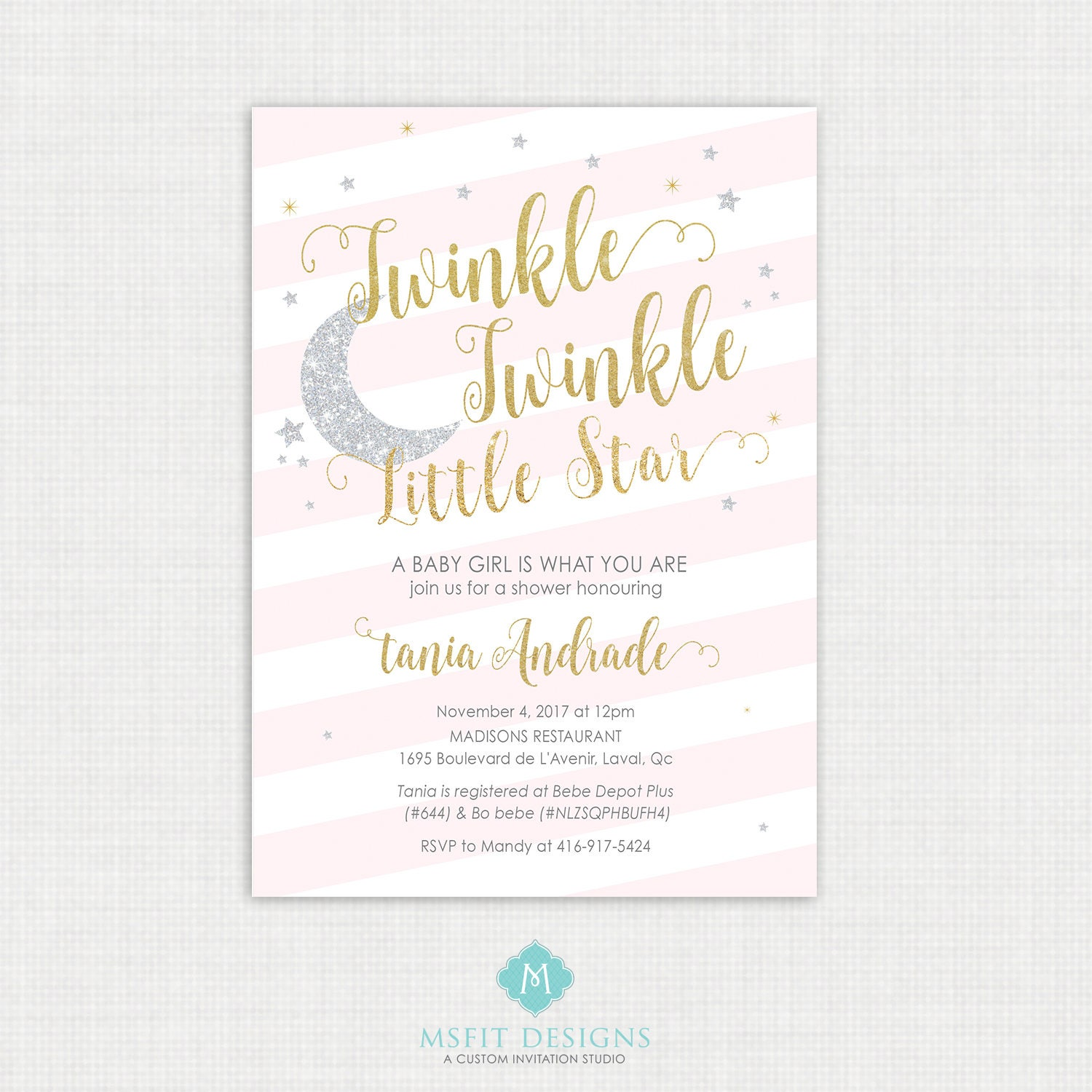 Twinkle Twinkle Little Star Baby Shower Invitations Twinkle