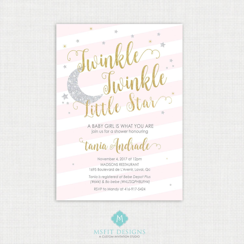 Twinkle Twinkle Little Star Baby Shower Invitations   Twinkle Invitation   Party Invite   Little Star Shower   Printable Digital DIY